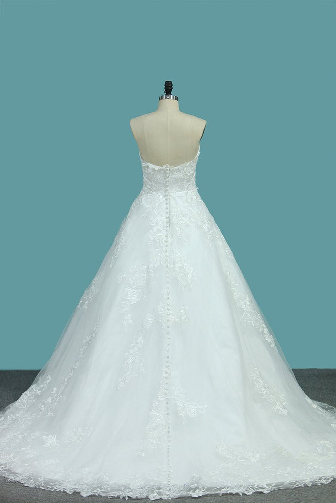 New Arrival Sweetheart Tulle With Applique A Line Wedding Dresses