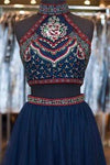 Cute Short A-Line Glitter Navy Blue Backless Sexy Fashion Two Pieces Homecoming Dresses JS38