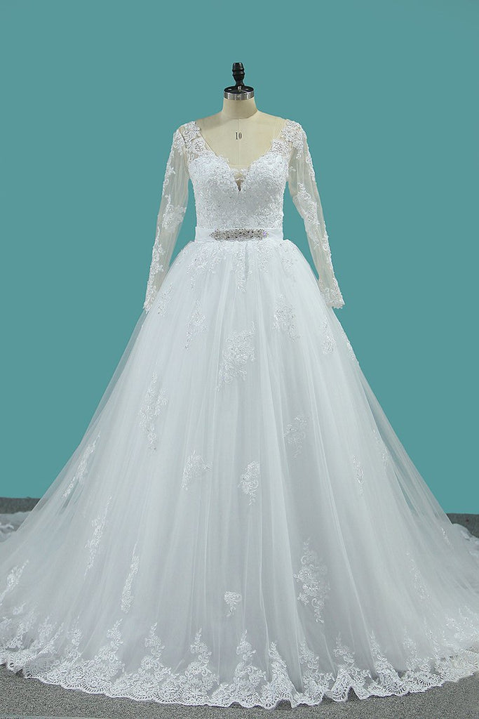 New Arrival V Neck Long Sleeves Tulle Wedding Dresses A Line With Applique