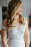 Sheath Off the Shoulder Court Train Ivory Tulle Wedding Dresses with Lace Appliques JS203