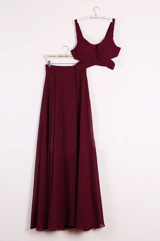 Elegant Two Pieces A-line V Neck Floor-length Burgundy Chiffon Cheap Prom Dresses JS671