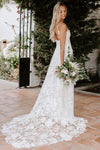 Rose Lace Sweetheart Boho Wedding Dresses Spaghetti Strap Beach Wedding Dresses PW381