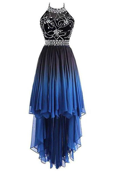 A Line Halter Beaded Blue High Low Chiffon Ombre Lace up Long Prom Dresses JS303