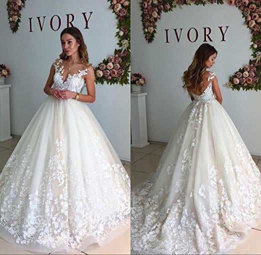Ball Gown Lace Appliques Tulle Backless Cap Sleeve Wedding Dresses Bridal Dresses JS333