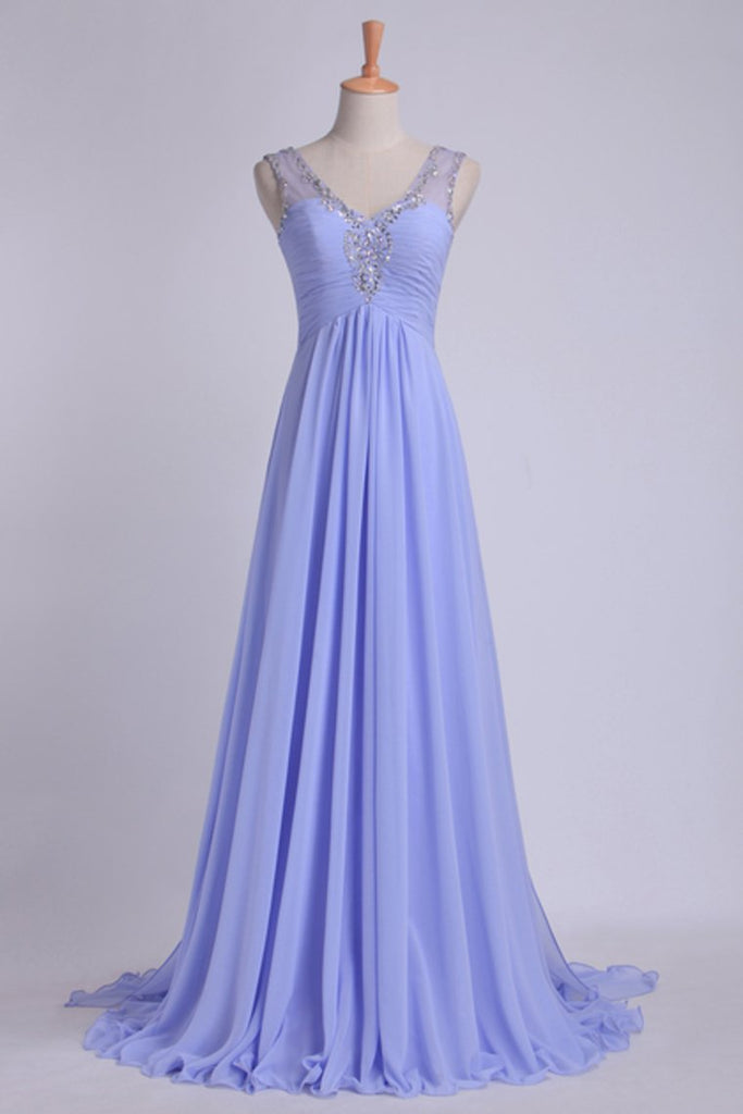 V Neckline And Deep V Back Chiffon Long A Line Prom Dress With Beaded Tulle Straps