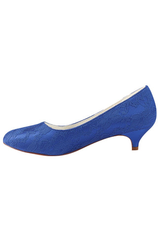 Charming Lace Royal Blue Custom Made Wedding Shoes L-921