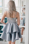 A Line V Neck Backless Satin Beaded Grey Spaghetti Straps Lace Homecoming Dresses JS921