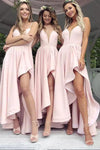 A Line Spaghetti Straps V Neck High Low Pink Satin Prom Dresses,Bridesmaid Dresses PW314