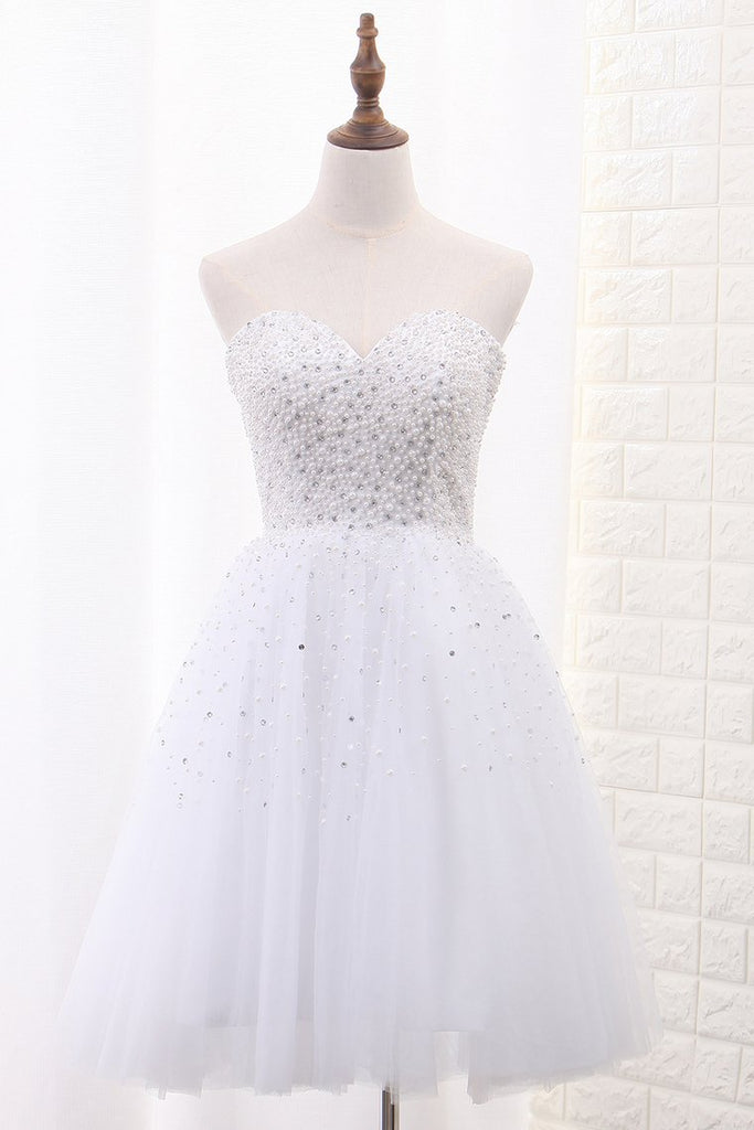 A Line Sweetheart Tulle Beaded Bodice Homecoming Dresses Short/Mini