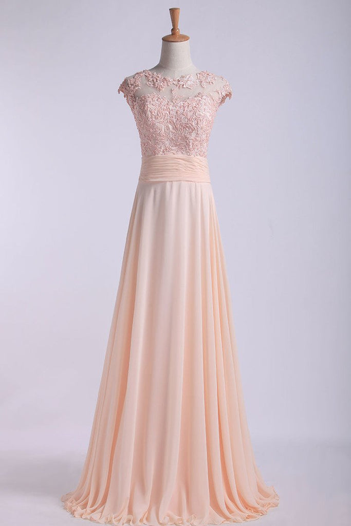 Scoop Prom Dresses A Line Chiffon With Applique And Ruffles Sweep Train
