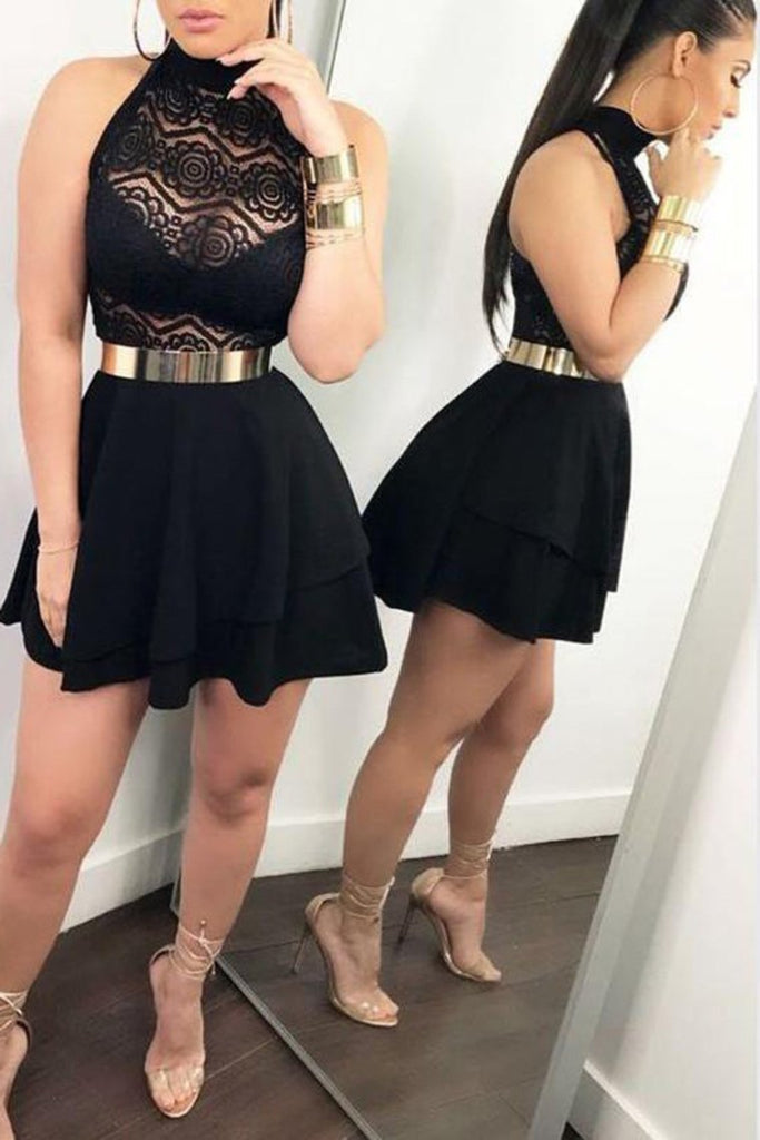 Halter Sleeveless Slim Waist Lace Short/Mini Cocktail Bodycon Dresses