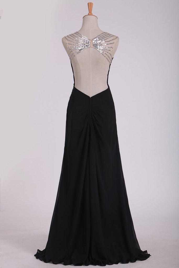 Sexy Open Back Prom Dresses Straps Sheath Chiffon With Beads And Ruffles