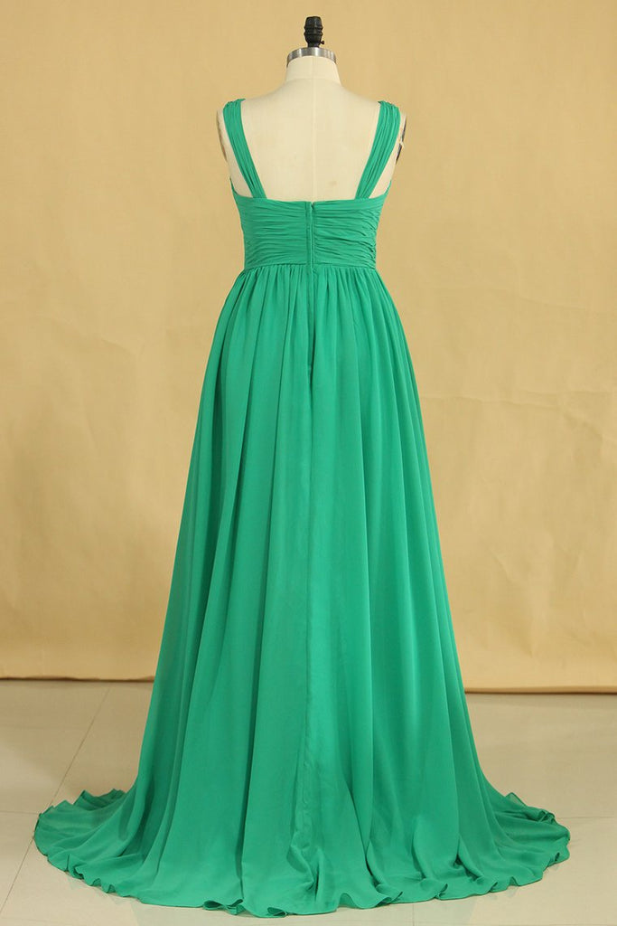 V Neck A Line Plus Size Prom Dresses Chiffon Sweep Train With Ruffles & Beads