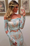 Long Sleeves Prom Dresses Mermaid Boat Neck Tulle With Applique