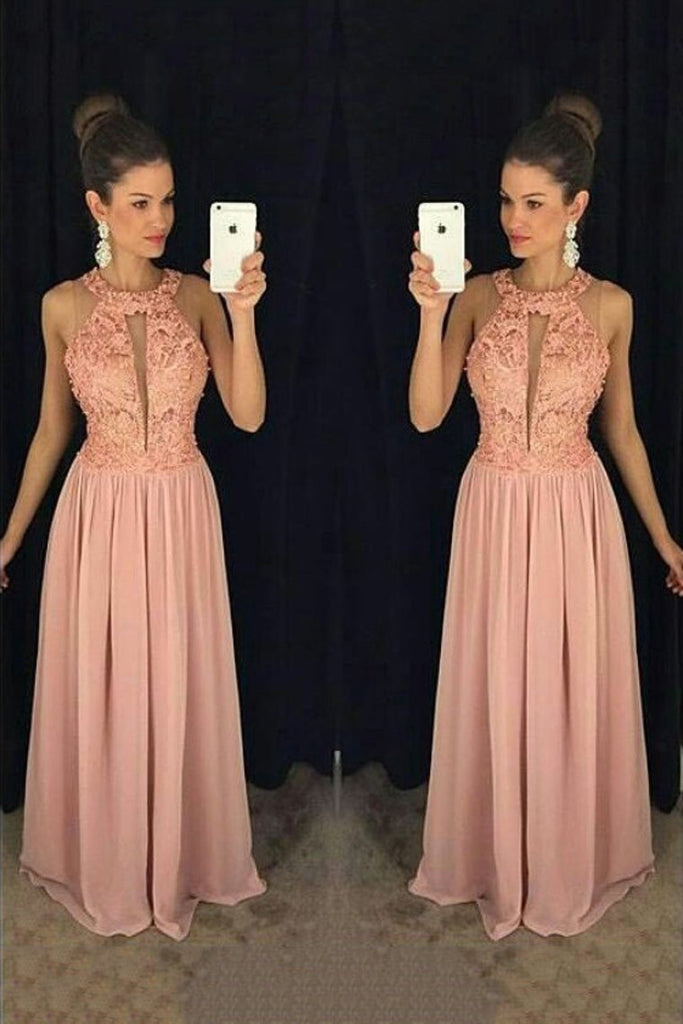 Scoop Chiffon Prom Dresses A Line With Applique And Beads