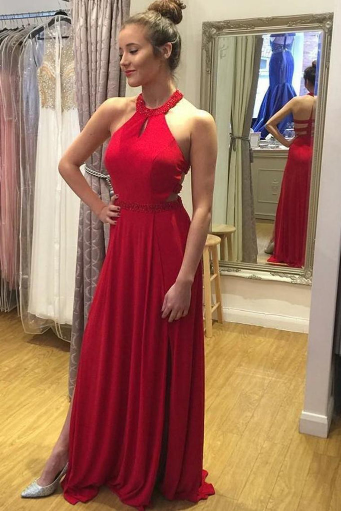 Formal Red Beading Chiffon Open Back Long Flowy Prom Dresses