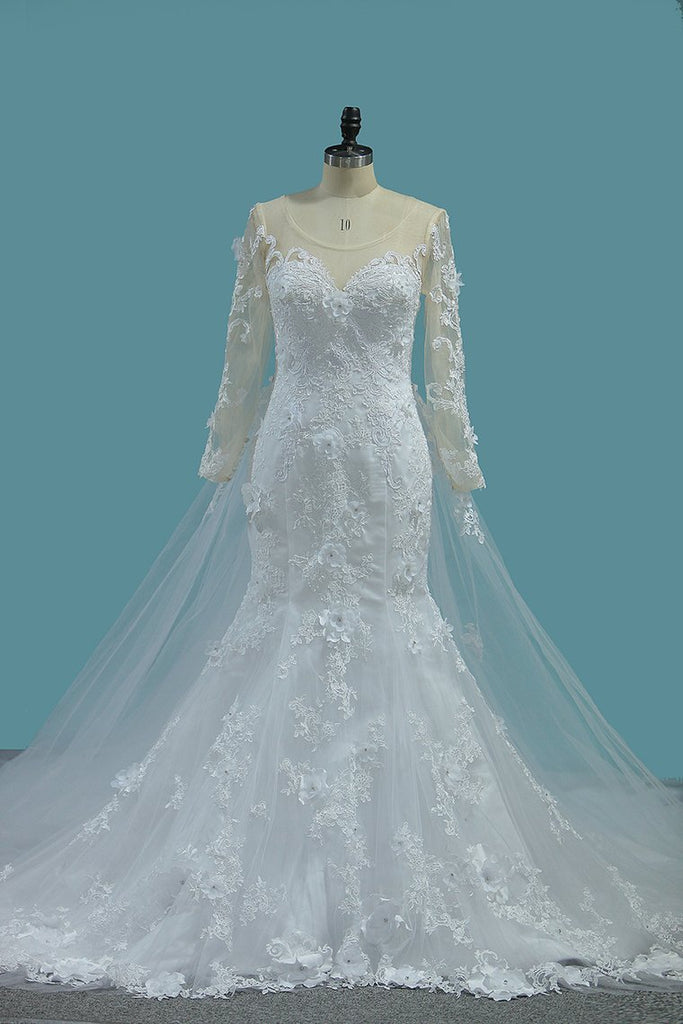 Scoop Long Sleeves Mermaid Wedding Dresses With Applique Tulle Chapel Train Detachable