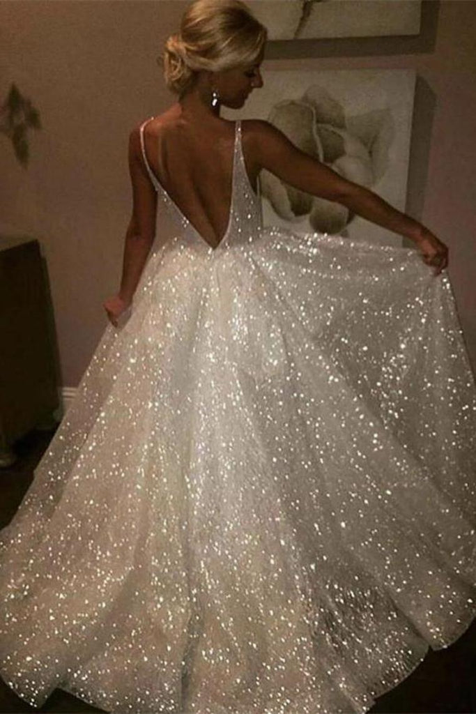 Pretty Long Ivory Sequin Shiny Lace Long Prom Dresses Wedding Dresses