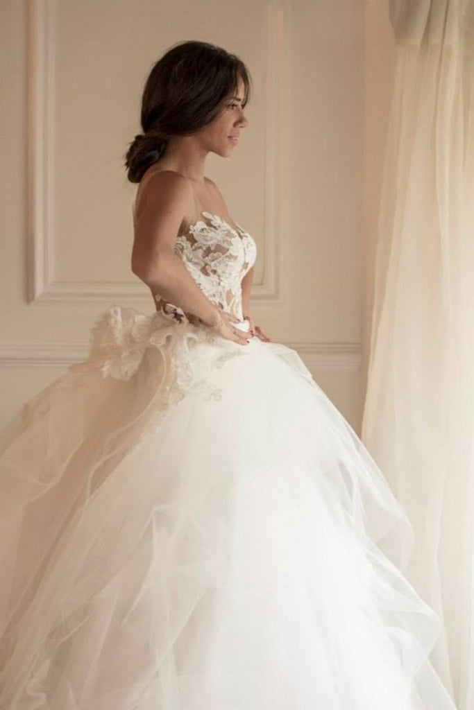 Mermaid Scoop Wedding Dresses Tulle With Applique Sweep Train Detachable