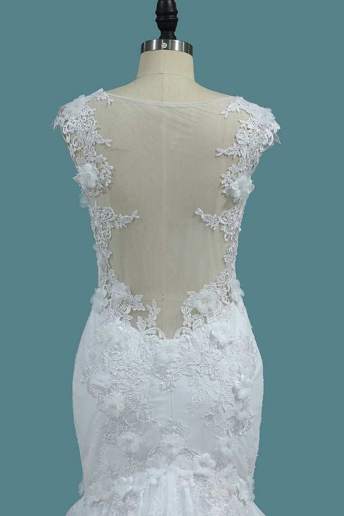 Off The Shoulder Mermaid Lace Wedding Dresses With Handmade Flowers