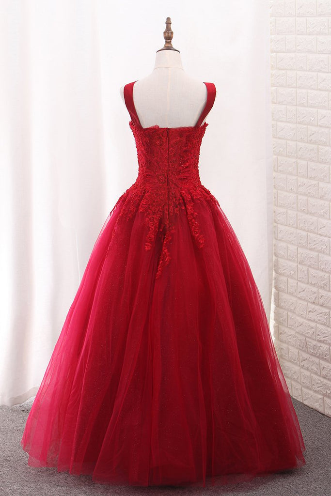 A Line Tulle Straps Prom Dresses With Applique And Beads Floor Length