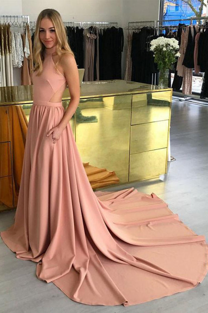 Sexy Open Back High Neck A Line Satin Court Train Evening Dresses