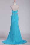 Spandex Sheath Prom Dresses Halter With Beading Sweep Train