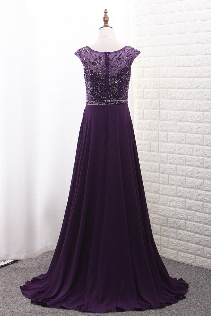 Chiffon Mother Of The Bride Dresses Scoop A Line With Beads Bodice Sweep Train