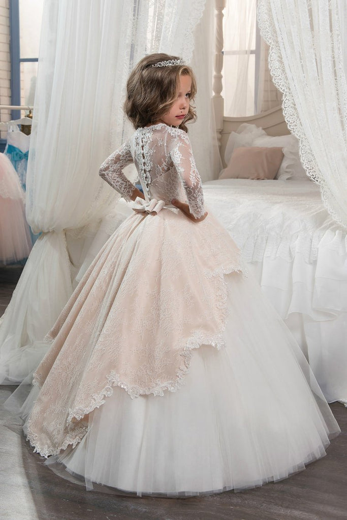 Long Sleeves Flower Girl Dresses Scoop Tulle With Applique And Beads