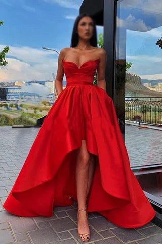 Elegant A Line Red Strapless High Low Prom Dresses with Pockets, Long Party Dresses SJS15148