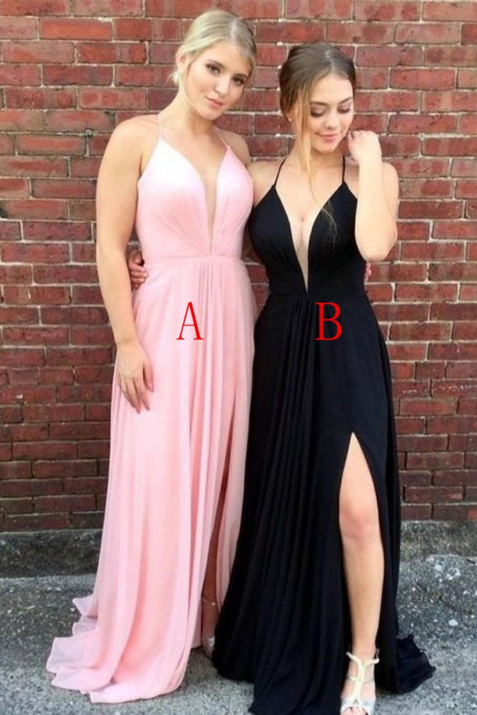Simple Spaghetti Straps V-Neck Pink And Blue Long Flowy Prom Dresses