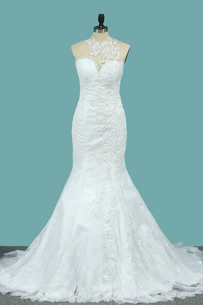 Mermaid Wedding Dresses Scoop Lace With Applique New Arrival