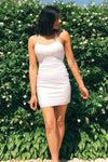 Tie Back Sheath White Homecoming Dress With Split Satin