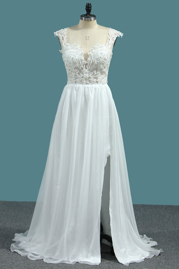 Chiffon A Line Straps Wedding Dresses With Applique And Beads