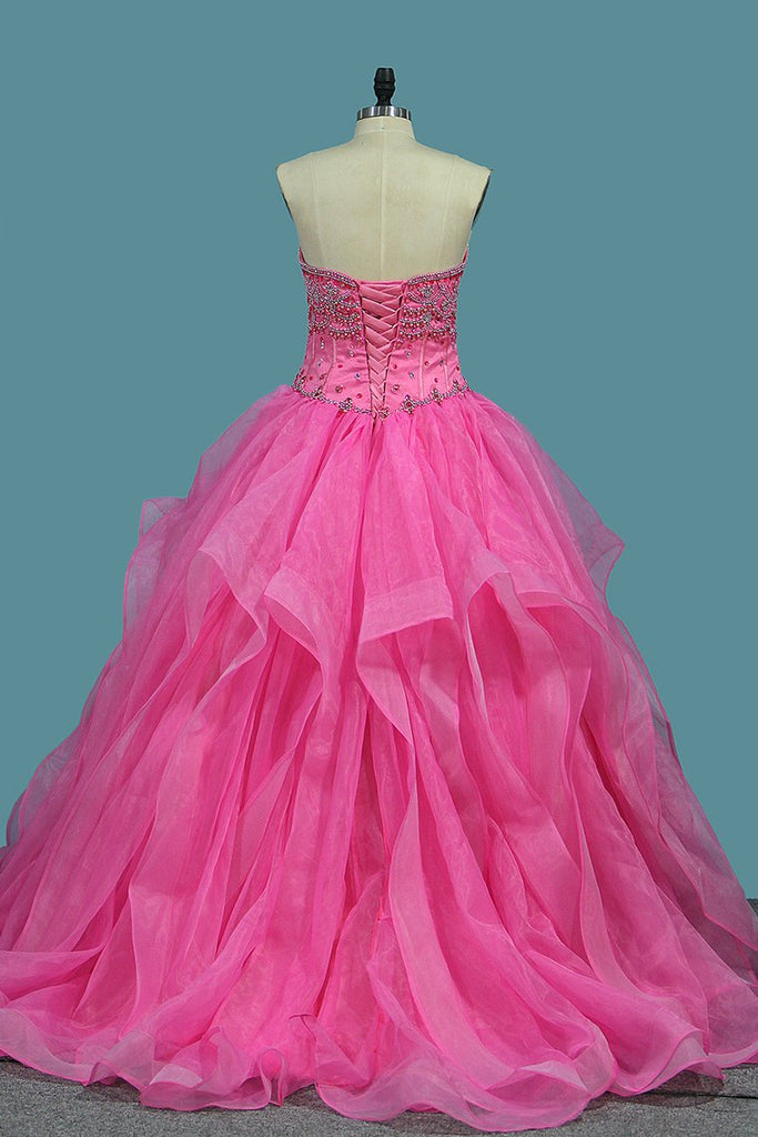 Organza Sweetheart Ball Gown Quinceanera Dresses With Beading