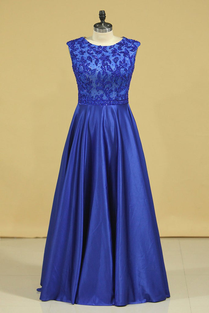 Plus Size A Line Prom Dresses Scoop Dark Royal Blue Satin Cap Sleeves Floor-Length