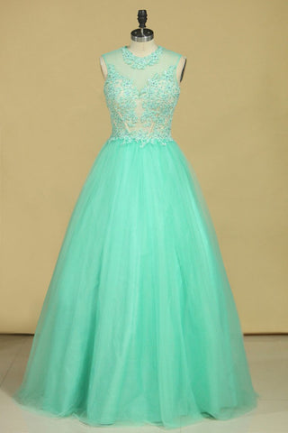 Scoop A Line Tulle Prom Dresses With Applique Floor Length