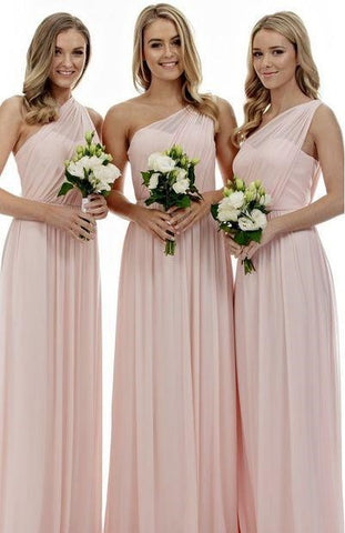 Long A Line One Shoulder Sleeveless Elegant Bridesmaid Dresses