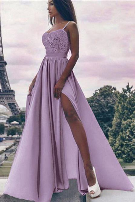 A Line Spaghetti Straps High Slit Sweetheart Chiffon Lace Appliques Prom Dresses JS310