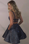 Shiny Spaghetti Straps Dark Grey Sparkly Homecoming Dresses with Pocket Short Dress H1006