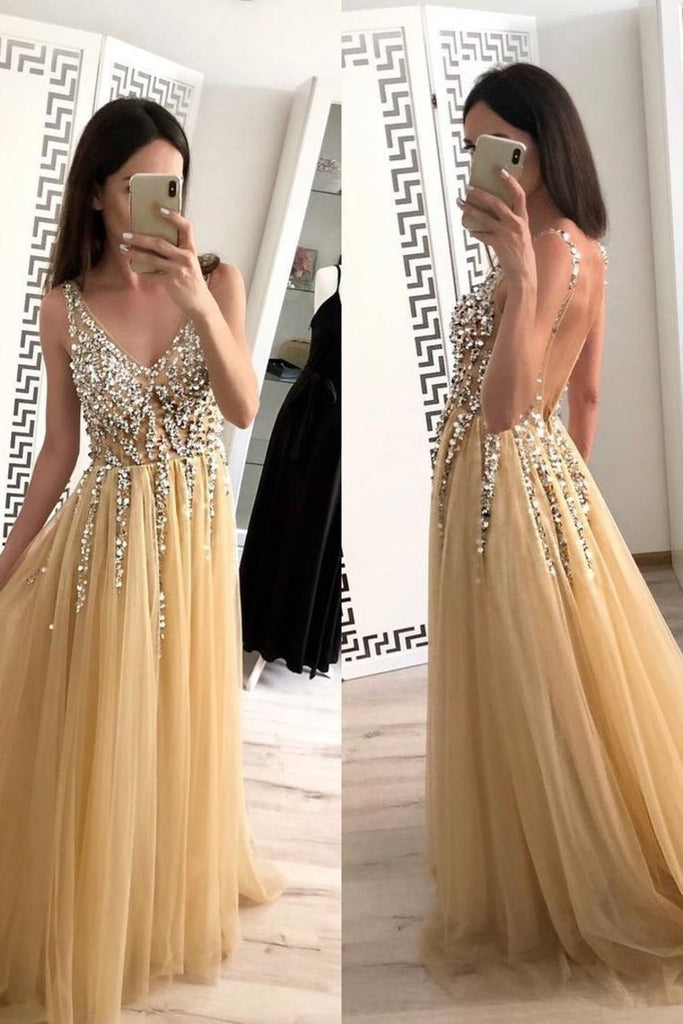 Champagne Tulle Beading A-Line V-Neck  Prom Dresses WIth Sweep Train