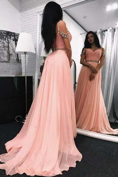 A Line Sweetheart Beads Off the Shoulder Long Chiffon Pink Prom Dresses UK PW369