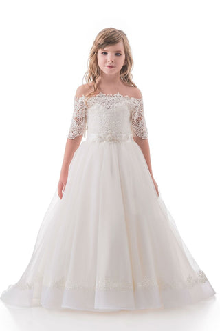2019 Boat Neck Mid-Length Sleeves A Line Tulle With Applique Flower Girl Dresses