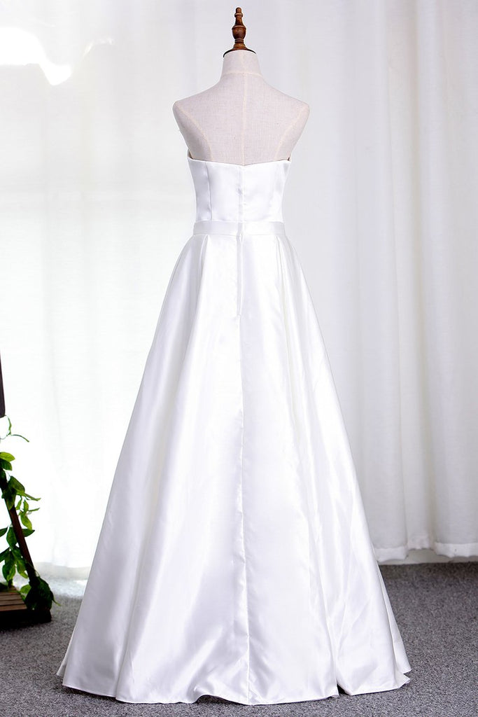 Satin Wedding Dresses Sweetheart A Line With Sash