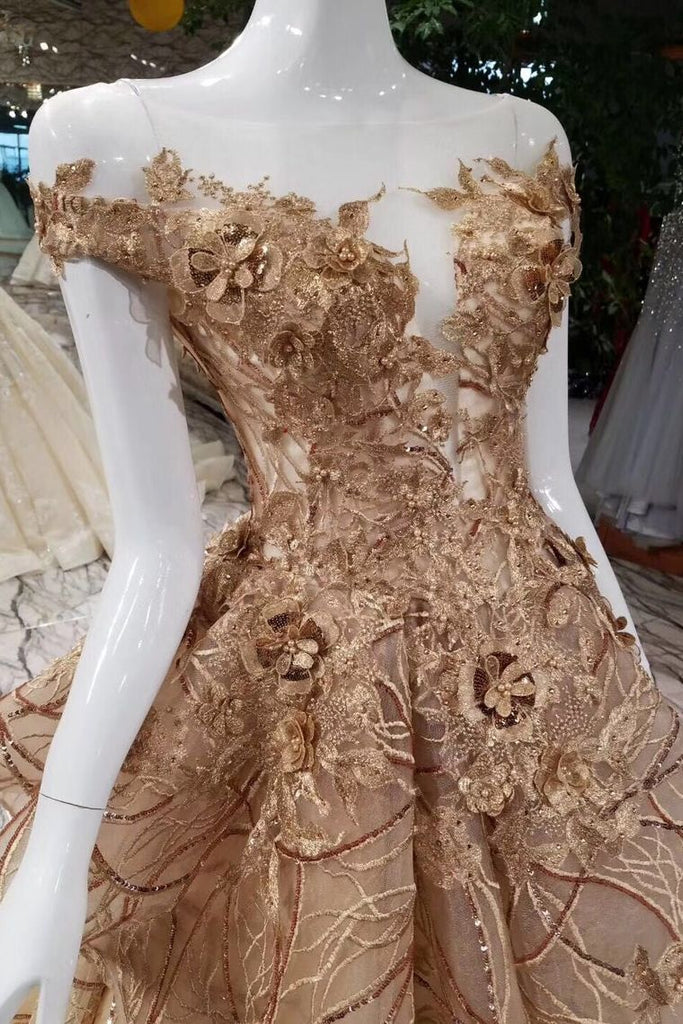 Gold Lace Prom Dresses Lace Up With Appliques Off The Shoulder