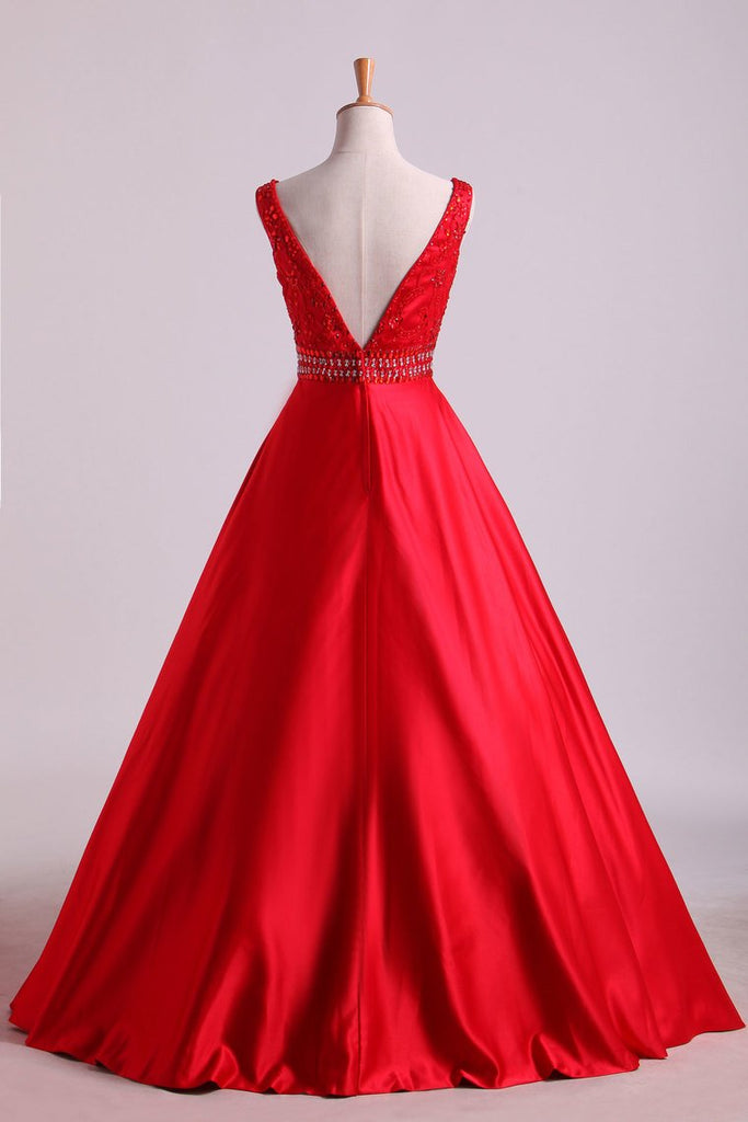 Evening Dresses A-Line Floor Length Lace-Up Satin