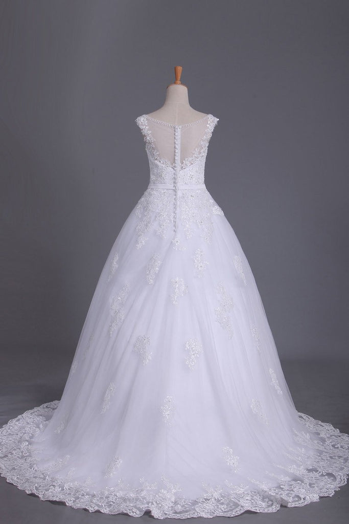 A Line Cap Sleeve Scoop Tulle Wedding Dresses With Applique And Sash
