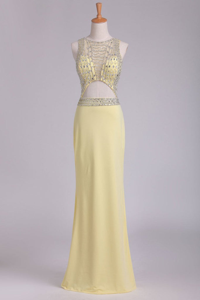 Sexy Open Back Scoop A Line Floor Length Prom Dresses Spandex With Beading