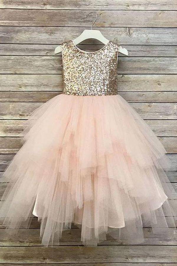 Princess A Line Gold Sequin Round Neck Blush Pink Cute Tulle Baby Flower Girl Dress JS828