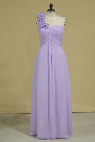 2019 Bridesmaid Dress A Line One Shoulder Chiffon With Handmade Flowers